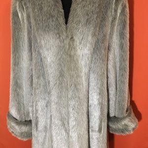 Dennis Basso Silver Faux Fur Coat